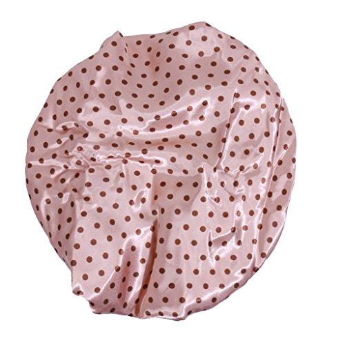 Bonnet de Douche Réutilisable Couverture de Cheveux Satin Spa - Café avec Motif Pois