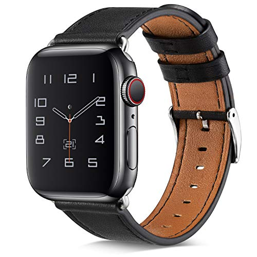 BELONGME Compatible with Apple Watch Band 44mm 42mm 40mm 38mm, Genuine Leather Replacement Strap with Stainless Metal Buckle for iWatch Series 5, Series 4, Series 3, Series 2, Series 1