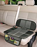 Car Seat Protector Nonslip with Mesh Organizer for Infant Baby Cars Seats Waterproof Dog Mat Cover Pad Protects Automotive Vehicle Leather or Cloth Upholstery(Gray)