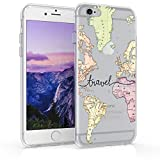 kwmobile Funda Compatible con Apple iPhone 6 / 6S - Carcasa de TPU y Mapa Mundial en Negro/Multicolor/Transparente