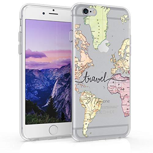 kwmobile Cover Compatibile con Apple iPhone 6 / 6S - Custodia in Silicone TPU - Backcover Protettiva Cellulare Mappa del Mondo Nero/Multicolore/Trasparente