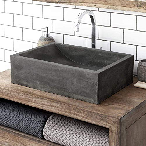 Magnus Home Products Vardaman Rectangular Cast Concrete Vessel Bathroom Sink, Dusk Grey, 19 1/2' L x 13 7/8' W, 65.0 lb