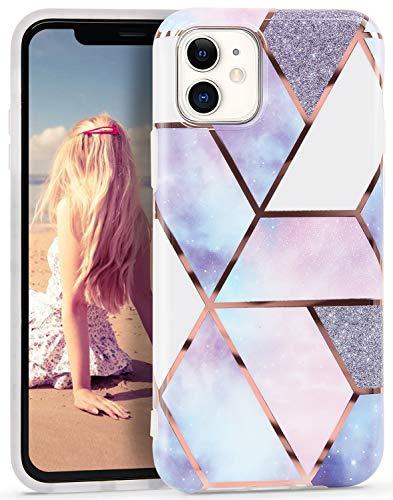 Imikoko Hülle für iPhone 11 Glitzer Marmor Weich Silikon Handyhülle Stein Marble Schlank TPU Bumper Handytasche Flexible Schutzhülle Soft Back Cover Gummi Dünn (Hellblau1)