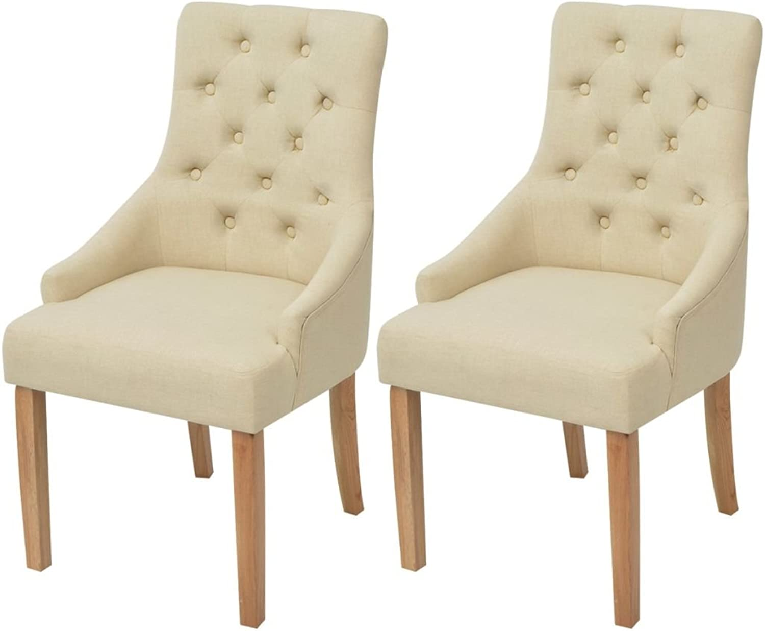 VidaXL 2X Oak Dining Chairs Fabric Cream Kitchen Living Room Furniture Seats