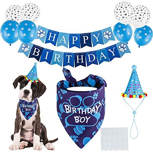 TCBOYING Dog Birthday Bandana, Dog Birthday Boy Hat Scarfs Flag Balloon with Cute Doggie Birthday Party Supplies Decorations(11-Piece Set)