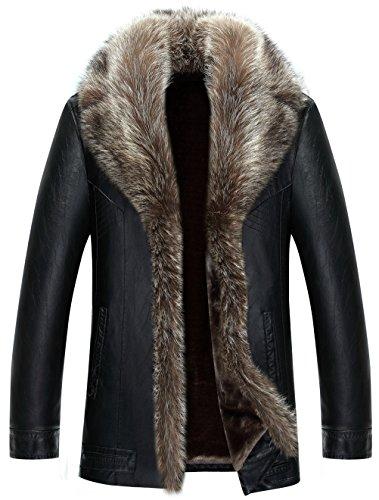 WS668 Winter Herren Warm Coat Lamm Wolle Gefüttert Luxuriöse Waschbär Pelz Kragen Leder Mantel (EU/ED XXX-Large, Schwarz-Kurz)