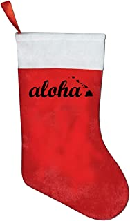 A19SDW Christmas Stockings Aloha Hawaiian Islands-1 Personalized Christmas Hanging Stocking 16.5 in Red and White Felt,for Family Holiday Xmas Halloween Party Decorations