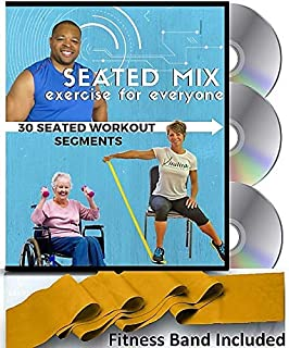 SEATED MIX CHAIR EXERCISE FOR SENIORS- 3 DVDs + 30 Exercise Segments + Resistance Band. Most Comprehensive Chair Exercise DVD for Seniors Available! Finally- Fun Chair Exercises for Seniors DVD!