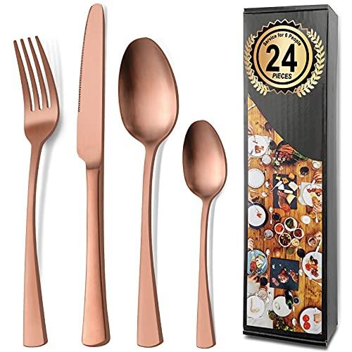Bestdin set posate inox 6 persone, set di posate 24 pezzi, servizio posate oro rosa opache, posate moderne adatte a casa/festa/ristorante (lavabili in lavastoviglie)
