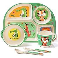 mooklin roam set da cucina in bambù per bambini da 5 pezzi, set di stoviglie piatti in motivo tigre per ragazzi e ragazze, riciclaggio del materiale naturale senza bpa