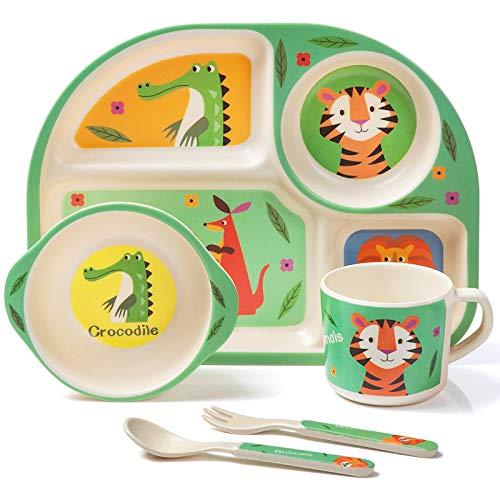 MOOKLIN ROAM Bambus Kinder Geschirr-Set, 5-teilig Kindergeschirr Set Tiger, Teller, Schale, Löffel, Gabel, Tasse, Alter, Recycling Natur Material bpa frei