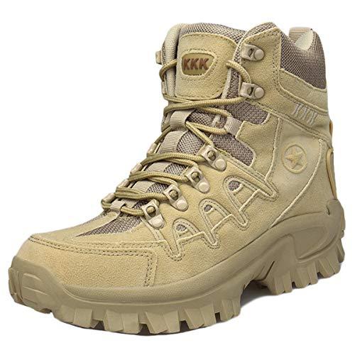 MERRYHE Hombres Botas Militares de Combate en el Desierto Botas tácticas Deportes al Aire Libre Zapatos de Senderismo para Acampar Zapatos Top-Top para Hombre,Sand color-42