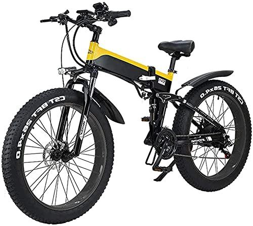 Bicicleta electrica Bicicleta eléctrica plegable para adultos, marco de aleación ligero 26 pulgadas neumáticos de la bicicleta eléctrica de montaña con pantalla LCD, motor de 500 vatios, 21/7 velocida