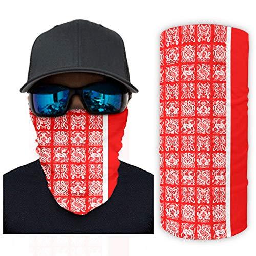 Fugift Weiße rote Wikinger-Tattoo-Sturmhaube, Halstuch, Fäc, Mäş Stirnband, Bandana, lustig, Headwrap, weiß, Einheitsgröße für Camping, Wandern