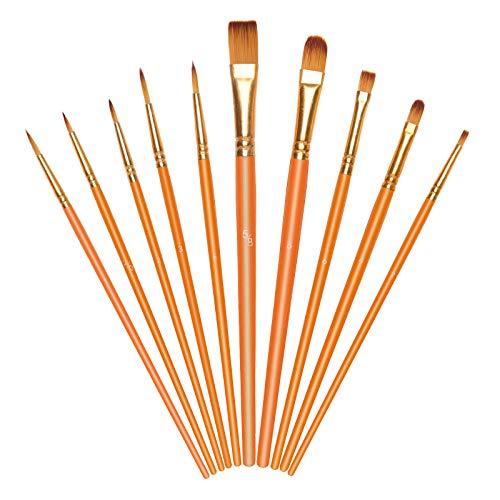 Vicloon Pinceles para Pintura, 10 Piezas of Pinceles de Nylon para Acuarela, óleo, Dibujo de líneas, Set de Pinceles de Artista para Principiantes, Profesionales y Amantes de la Pintura (Naranja)