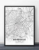 ZWXDMY Leinwand Bild,Frankreich Bordeaux Stadtplan Einfach