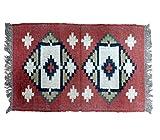 Handwerk Bazarr Combo: Kelim-Teppich Dhurrie, Set mit 5 indischen traditionellen Teppichen, 2 x 90 cm Wolle, Juteteppich, Akzentteppich, umweltfreundlich, erdige Heimdekoration - 5