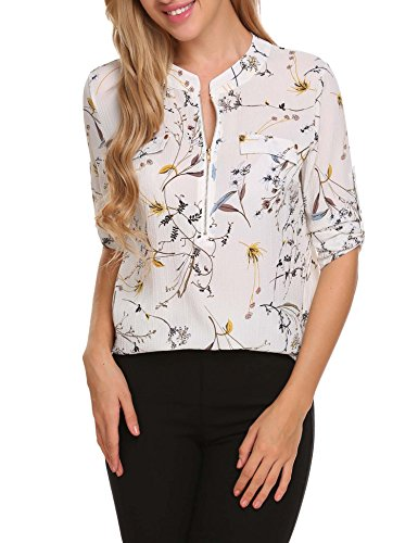 ANGVNS Women Chiffon Blouse Summer V Neck Business Casual Clothes Casual Dress Shirts Tops