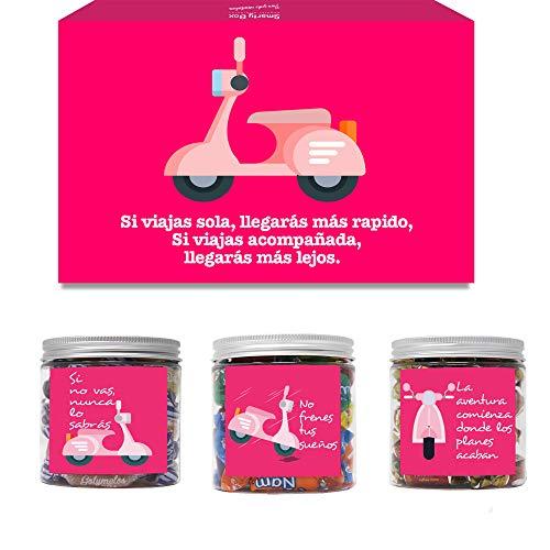 SMARTY BOX Caja Regalo Cumpleaños Chuches Amiga, Pareja, Novia Original Caramelos y Gominolas Cesta Golosinas Regalo Chucherías con Mensajes Dulces sin Gluten, Fabricado en España