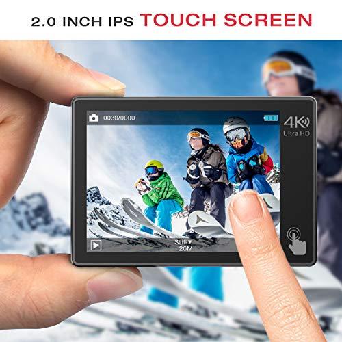 Campark X20 Action Cam 4K Ultra HD 20MP Touchscreen WiFi Fernbedienung EIS Anti-Shaking Unterwasserkamera wasserdichte 30M mit 170 ° Weitwinkel Verstellbar und Zubehör-Kits - 6