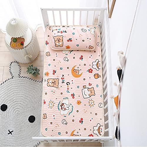 Geizland Alfombra infantil de verano de dos piezas para niños de seda de hielo con diseño de aire acondicionado Good night_70 x 140 cm, juego de dos piezas
