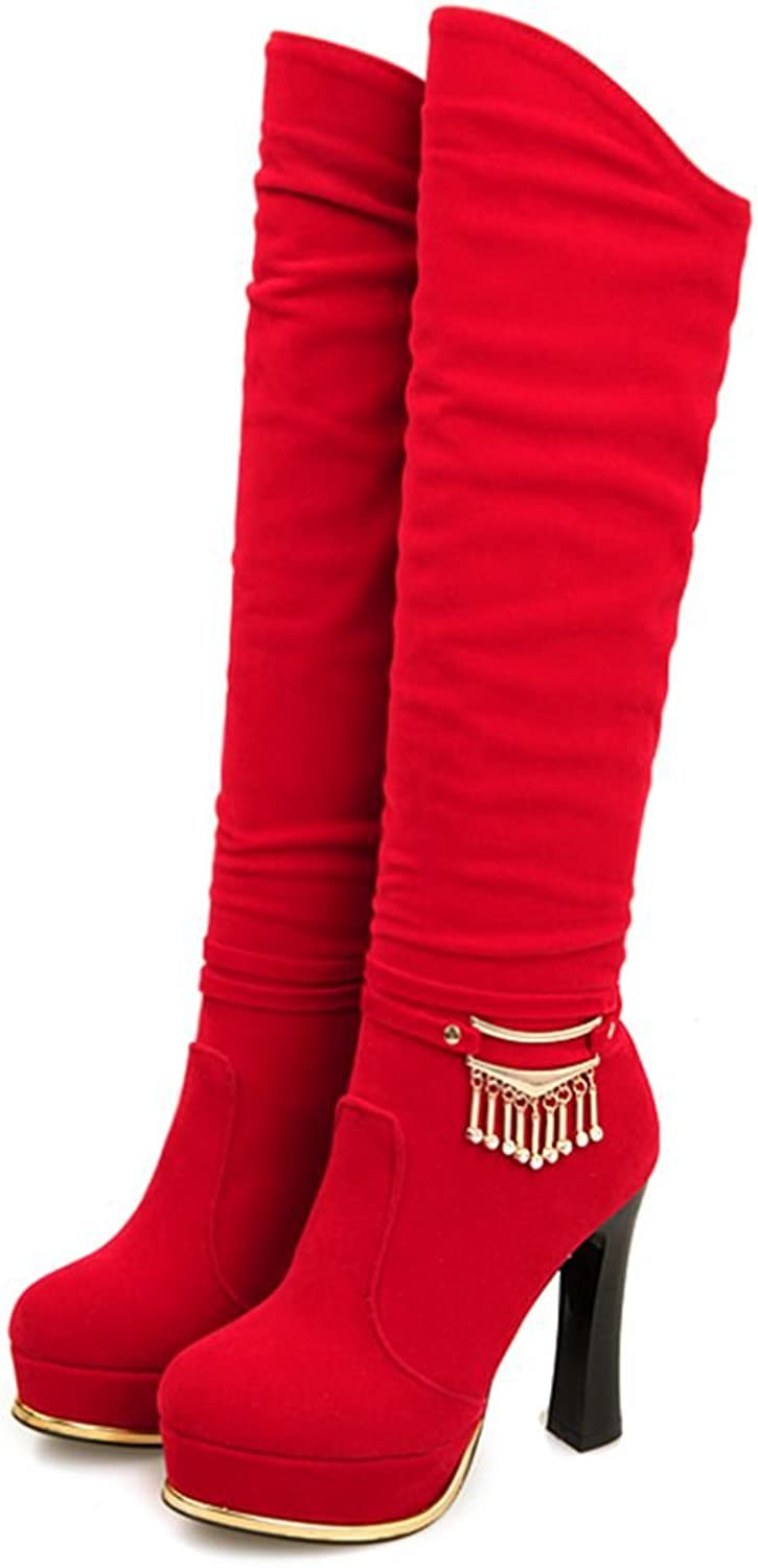 SaraIris Women Knee-high Boots Mental Decoration Platform High Heels for Winter