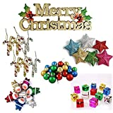 Party Hub 1 pcs Merry Christmas Banner (21cm*7cm) and 48 pcs Christmas Tree Decoration Ornaments Set of 49