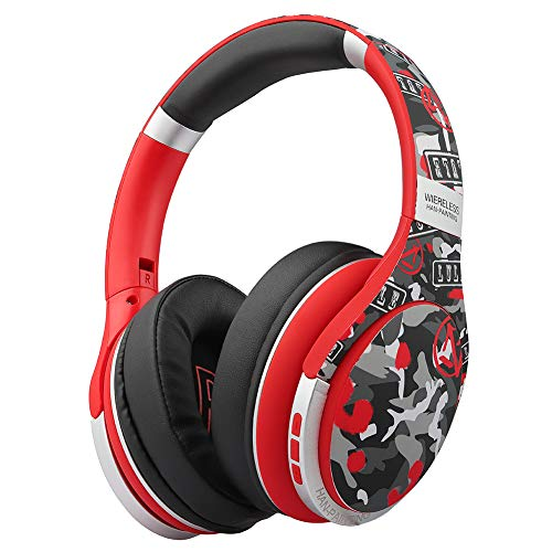 Audífonos inalámbricos Bluetooth, audífonos de diadema estéreo Hi-Fi plegables con micrófono, radio FM, modo alámbrico, compatible con PC/celular/tabletas/TV/MP3. (Rojo)