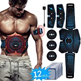 ABS Abdominal Muscle Toner, EMS Muscle Stimulating Belt Portable USB Rechargeable for Men&Women