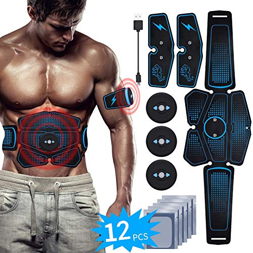 EMS Muscle Stimulator Abs Stimulator Belt USB Rechargeable Abdominal Toner 6 Pack Muscle Training for Men Women Abdomen Leg Arm Muscle Trainer in Home Office Fat Burner with Gel Sheet (2019 Blue Six)