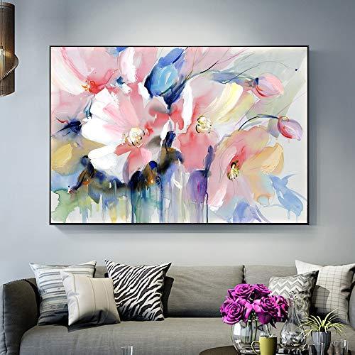 adgkitb canvas Abstrakte Blume Ölgemälde auf Leinwand drucken Moderne Wandkunst Blumenbild für Wohnzimmer Wanddekoration 60x90cm KEIN Rahmen