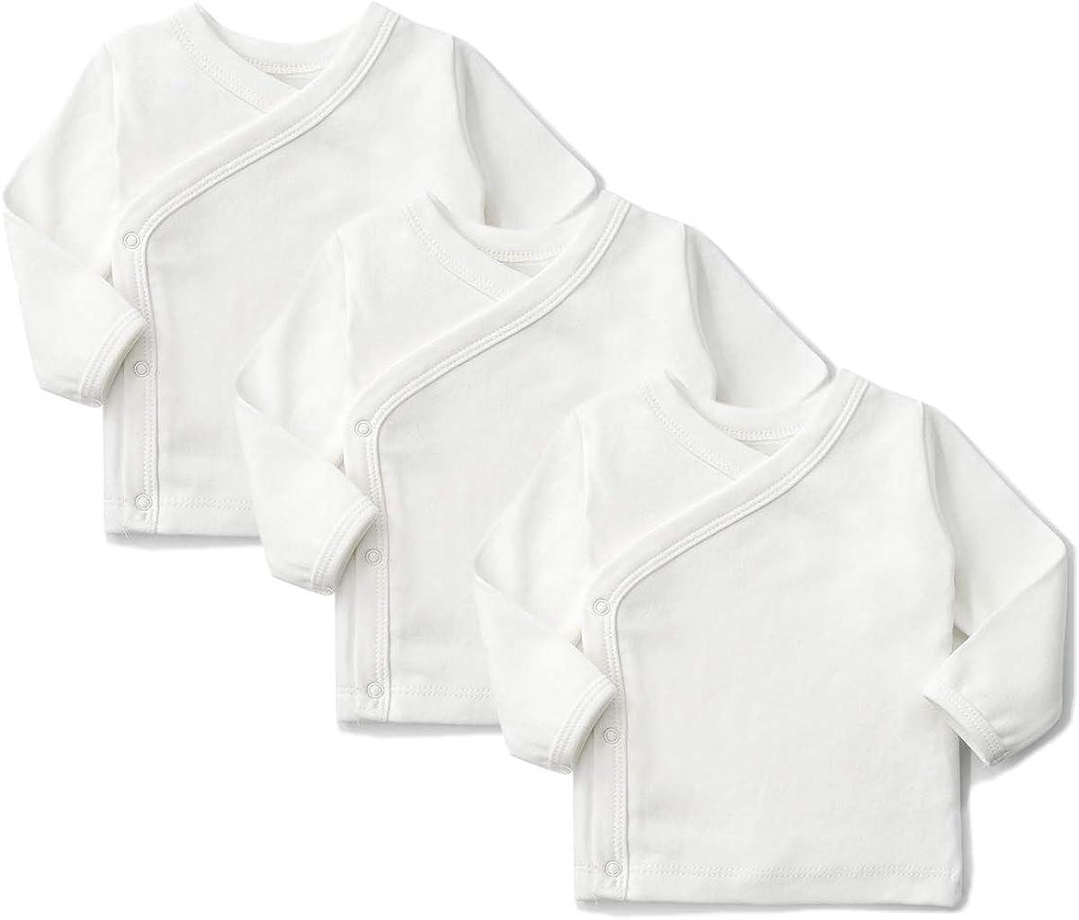 SYCLZ Unisex-Baby 100% Cotton Long Sleeve Side-Snap Shirts Soild Color Kimono Tees 0-12M (6-12M, White/3)