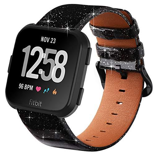 KADES Compatibel voor Fitbit Versa riem, Klassiek Echt Lederen Band met Quick Release Pin Compatibel voor Fitbit Versa Smart Watch Mannen Vrouwen, Zwart Glitter-Leer