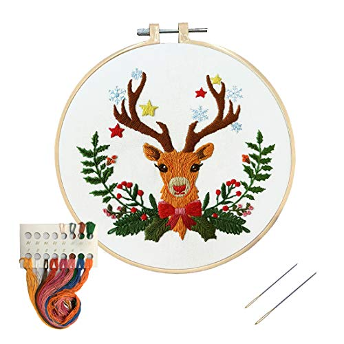 Louise Maelys Christmas Embroidery Kit for Beginners Christmas Elk Wreath Cross Stitch Kits for Christmas Decor Gifts