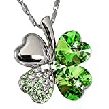 TRUEGOOD Lucky Love Four Leaf Clovers Necklace Crystals,Heart Crystal Pendant with Necklace, For Mother's Day gift Exquisite gift (Lucky Green)