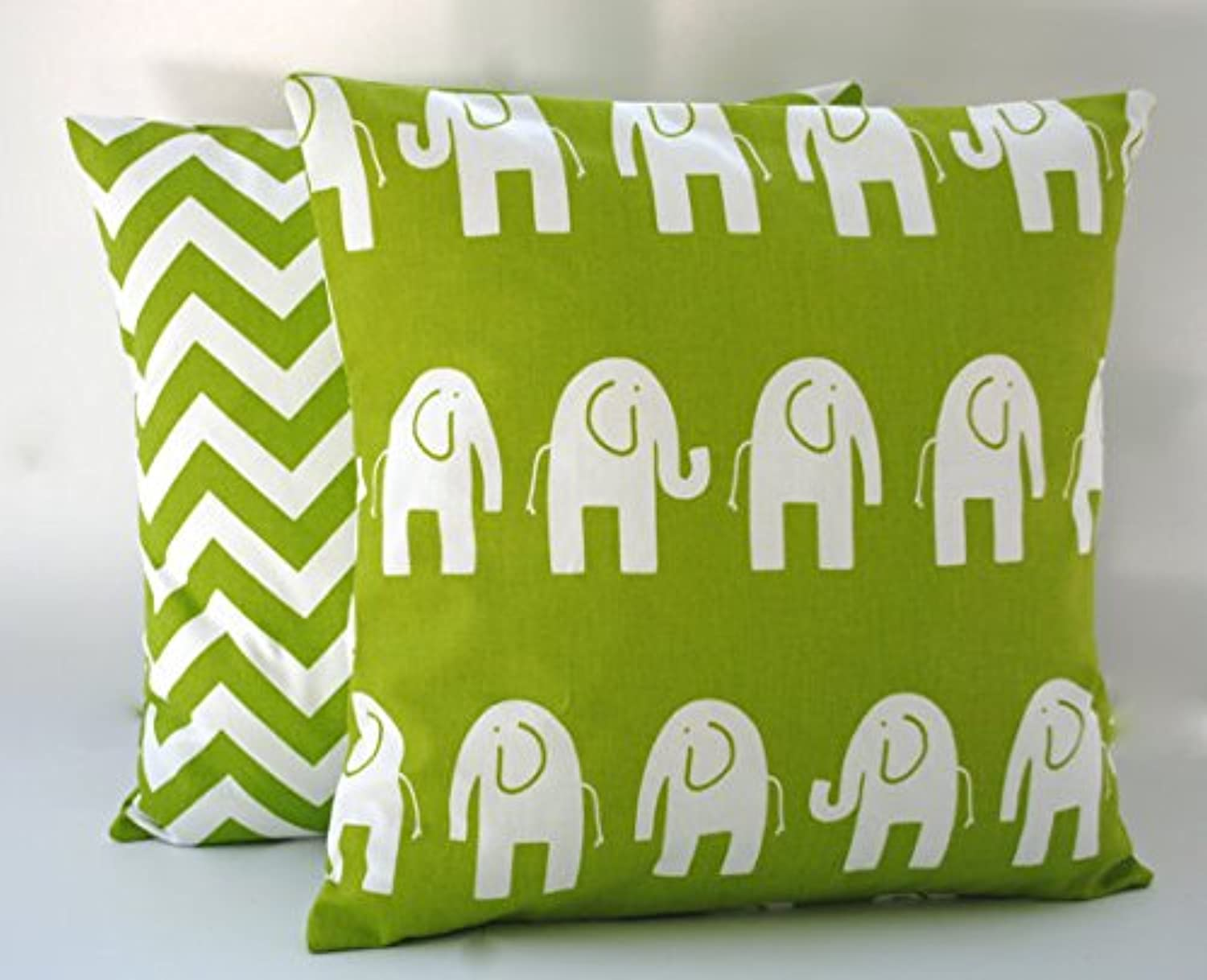 Premier Prints Elephant and Zig zag Green White Pillow Covers