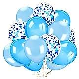HOWAF 40 Pezzi Palloncini in Lattice Palloncini coriandoli Set di Bianchi e Blu Palloncini Matrimonio Palloncini Compleanno Decorazioni per Feste, Baby Shower Festa di Natale, Cerimonia