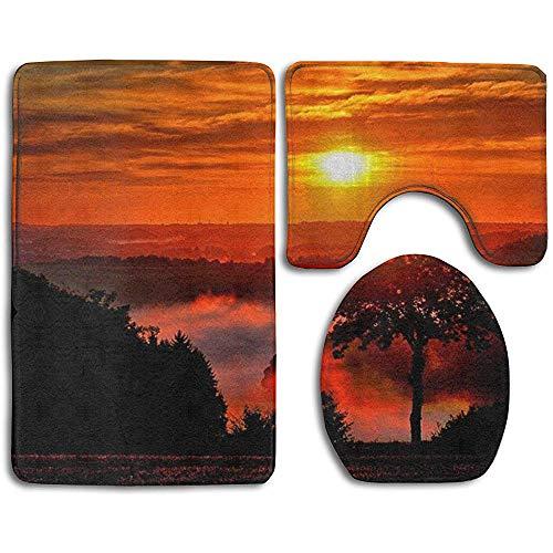Anna-Shop Sunset Print Badmat Set 3-delige, anti-slip badmat + toiletbrilhoes + contourmat