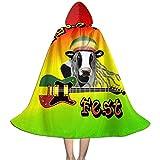 kdu fashion mantello da mago,halloween natale capretto cosplay abito con cappuccio mantello mantello reggae vegan fest logo rasta colori felpa con cappuccio devil vampire wizard 33x88cm