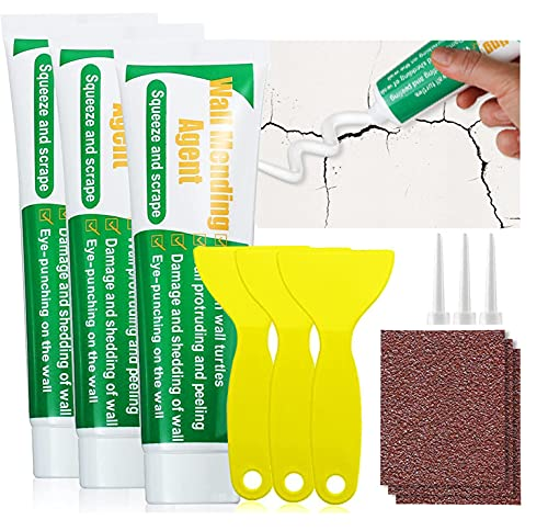 Wall Mending Agent, Moduskye 3 Pack Wall Repair Kit with Scraper and Sandpaper, Quickly Fix for Crack Wall, Easy Solution to Fill Holes Home Plaster Self-Adhesive Spackle Repair Drywall Putty