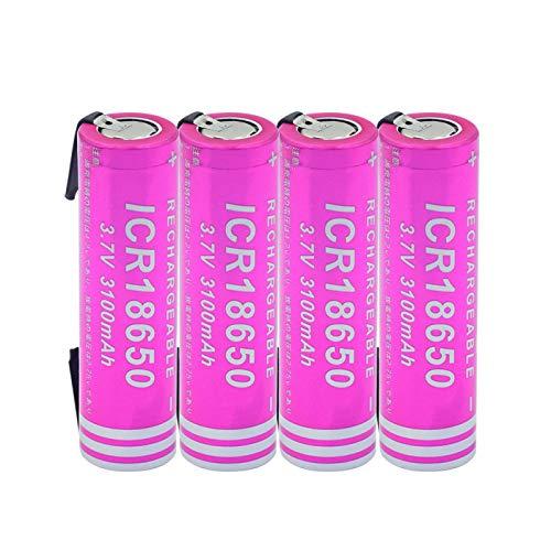 josiedf Batería De Iones De Litio De 3.7v 3100mah 18650, Recargable para El Control Remoto del Ordenador PortáTil del MicróFono del Banco del Poder 4pieces