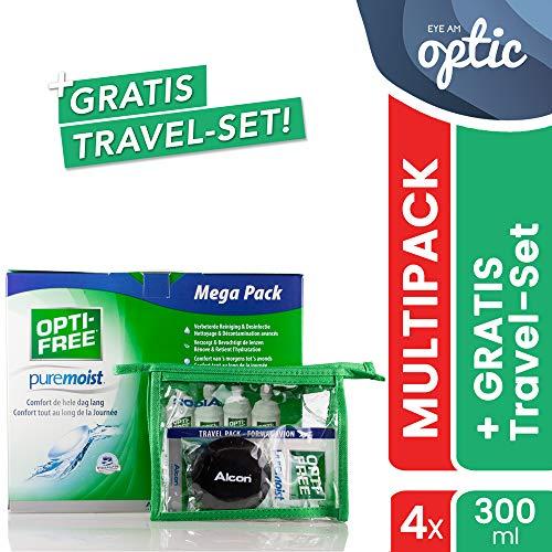 Alcon Optifree Puremoist 4x300ml Kontaktlinsen-Pflegemittel inkl. Reise-Set 90ml (Opti-Free)