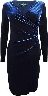 RALPH LAUREN Womens Navy V Neck Wrap Dress Formal Dress US Size: 2