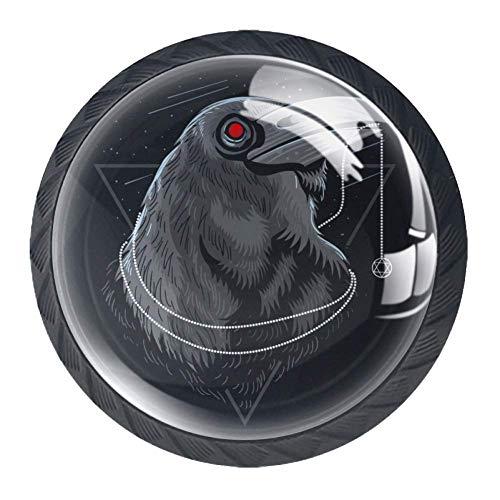 Perilla del armario Cuervo gris perillas de mesillas de noche bonitas perillas de pecho para guardería (4 piezas) 3.5x2.8CM