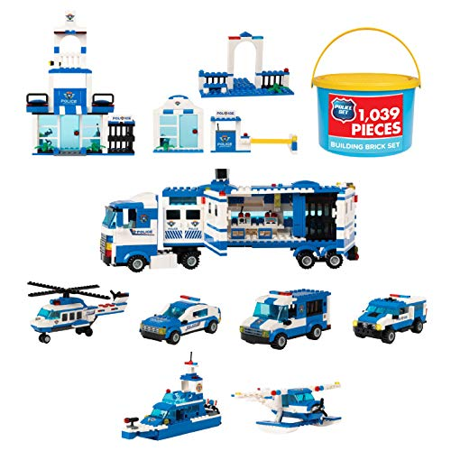 1,039 Piece Police Mobile Command Center Building Bricks Set - 9 in 1 City Toy Blocks Police Station and Car Kit for Boys and Girls