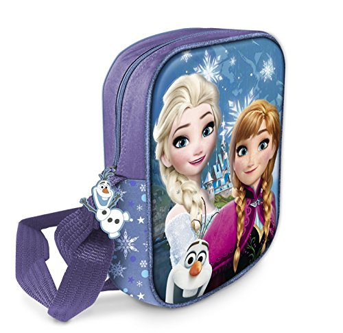 Star Licensing Disney Frozen Tracolla 3D Borsa Messenger con Tirazip in Gomma a Tema, 20 cm, Multicolore