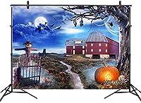 新しいハロウィーンの月のバットの背景10x7ftファブリック秋のカボチャのかかしの農場の写真の背景ハロウィーンの夜のパーティーのバナー写真ブースの背景スタジオの小道具洗える