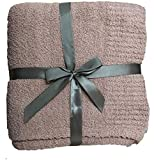 Knit Throw Blanket Soft Cozy Microfiber Bed Blanket with Ribbed Trim Fluffy Warm Blanket Lightweight Blanket for Couch,Sofa and Bed 50x60 Inches Dusty Rose