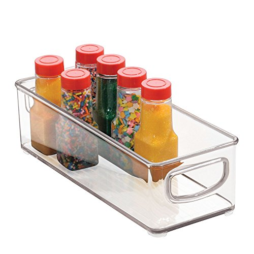 iDesign Plastic Storage Bin with Handles for Kitchen Fridge Freezer Pantry and Cabinet Organization BPA-Free Large Clear Medium
