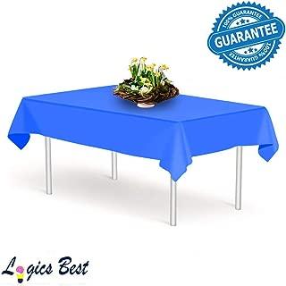 Logics Best Plastic Table Cloth Single Use Disposable Light Plastic Covers (Blue, 3 Pack)
